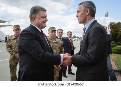 "LVIV, UKRAINE - Sep 21, 2015: President of Ukraine Petro Poroshenko and NATO Secretary General Jens Stoltenberg during a visit to the teachings of the Ukraine-NATO disaster relief ""Ukraine-2015"""