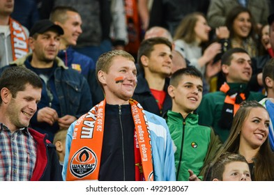 LVIV, UKRAINE - SEP 29: Active fans support their team during the UEFA Europa League match between Shakhtar Donetsk vs SC Braga (Portugal), 29 September 2016, Arena Lviv, Ukraine