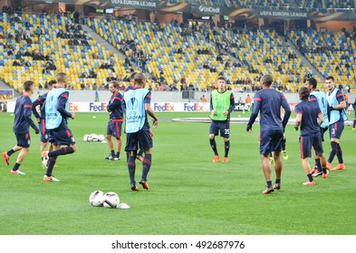 LVIV, UKRAINE - SEP 29: Train Braga football players during the UEFA Europa League match between Shakhtar Donetsk vs SC Braga (Portugal), 29 September 2016, Arena Lviv, Ukraine