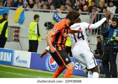 LVIV, UKRAINE - SEP 30: Blaise Matuidi (R) in action during the UEFA Champions League match between Shakhtar vs PSG (Paris Saint-Germain), 30 September 2015, Arena Lviv, Lviv, Ukraine