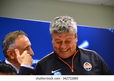LVIV, UKRAINE - SEP 30: Mircea Lucescu in a press conference before the UEFA Champions League match between Shakhtar vs PSG, 30 September 2015, Arena Lviv, Ukraine