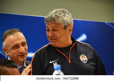 LVIV, UKRAINE - SEP 30: Mircea Lucescu in a press conference before the UEFA Champions League match between Shakhtar vs PSG, 30 September 2015, Arena Lviv, Ukraine