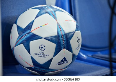 LVIV, UKRAINE - SEP 30: Official ball of the Champions League closeup before the UEFA Champions League match between Shakhtar vs PSG (Paris Saint-Germain), 30 September 2015, Arena Lviv, Ukraine