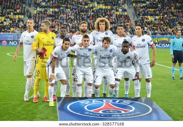 LVIV, UKRAINE - SEP 30: Total group photo players PSG (Paris Saint Germain) during the UEFA Champions League match between Shakhtar vs PSG, 30 September 2015, Arena Lviv, Lviv, Ukraine