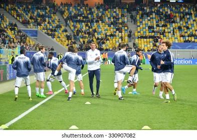 LVIV, UKRAINE - SEP 30: Train players PSG before the UEFA Champions League match between Shakhtar vs PSG (Paris Saint-Germain), 30 September 2015, Arena Lviv, Ukraine