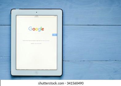 LVIV, UKRAINE - Sept 17, 2015: Google search home page on a white ipad screen