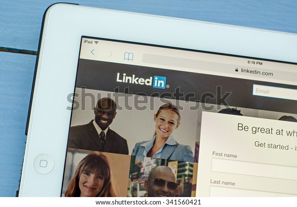 LVIV, UKRAINE - Sept 17, 2015: White ipad with Linkedin.com homepage on the screen. LinkedIn is a business-oriented social networking service