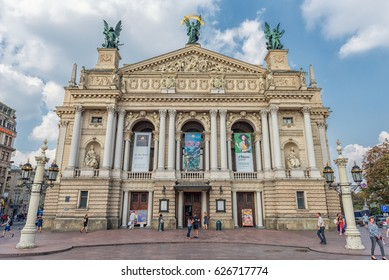 LVIV, UKRAINE - SEPTEMBER 09, 2016: Lviv City With Local Architecture and People. Lviv National Academic theatre of opera and ballet named after Solomiya Krushelnytska