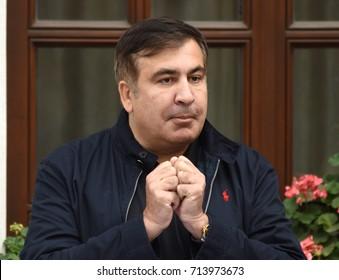 Lviv, Ukraine - September 12, 2017. Former Georgian president Mikheil Saakashvili speaks to media near his hotel in the centre city of Lviv on September 12, 2017.
