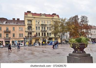 Lviv, Ukraine, September, 16, 2013. The prospect of Freedom in Lviv in rainy weather