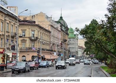 Lviv, Ukraine, September, 16, 2013. Liberty Avenue in Lviv in rainy weather