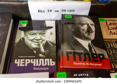 Lviv / Ukraine - September 19, 2019: 26 Lviv International Book Forum in Ukraine, biographies of Churchill and Hitler