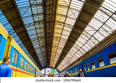 Lviv, Ukraine - September 29, 2016:The roof of the Lviv railway station
