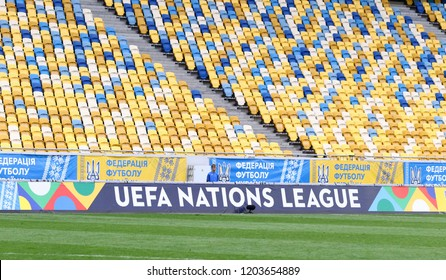 LVIV, UKRAINE - SEPTEMBER 9, 2018: UEFA Nations League billboard seen at Arena Lviv stadium during UEFA Nations League game Ukraine v Slovakia. UEFA Nations League is a biennial football competition