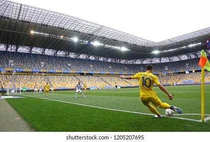 LVIV, UKRAINE - SEPTEMBER 9, 2018: Yevhen Konoplyanka of Ukraine makes a corner kick during the UEFA Nations League game against Slovakia at Arena Lviv stadium in Lviv. Ukraine won 1-0