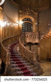 Lviv/Ukraine - 12.09.2017: Luxury wooden interior of The House of Scientists