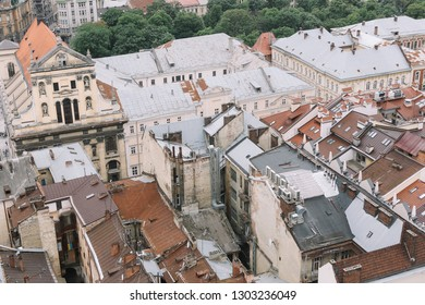 LVIV/UKRAINE-19 MAY 2018:Top view from of the city hall in Lviv, Ukraine. Lviv bird's-eye view. Lviv old town from above. Aerial view of Latin Cathedral.