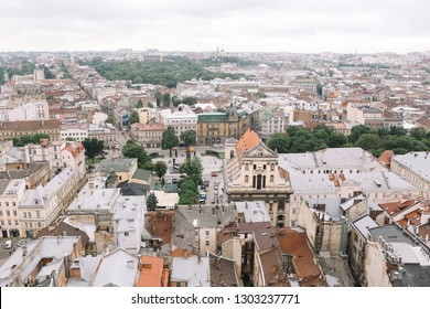 LVIV/UKRAINE-19 MAY 2018:Top view from of the city hall in Lviv, Ukraine. Lviv bird's-eye view. Lviv old town from above.