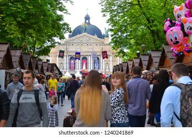 LVIV,UKRAINE-MAY 05: Lviv Opera House and People enjoying day at Rynok Square.May 05,2015 in Lviv,Ukraine