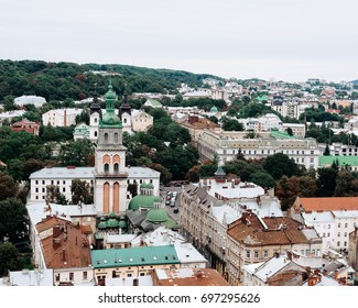 Lvov city center. Top view from air