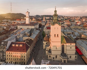 Lvov - city center view, historical center at sunset, Ukraine, Western Ukraine. Aerial panorama.