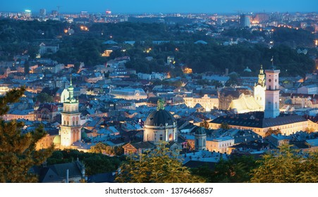 Lvov Skyline in the evening. Scenic view on Central part of the old city from High Castle Hill. Lviv, Ukraine