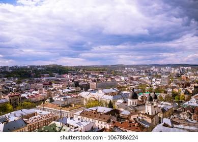 Lvov, Ukraine - April 7, 2017: Market Square in a center of Lviv city, Ukraine. View from Lviv City Hall Tower