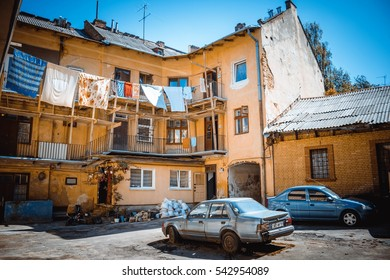 Lvov, Ukraine - July 26, 2016: view of the typical old soviet courtyard in the city of Lvov