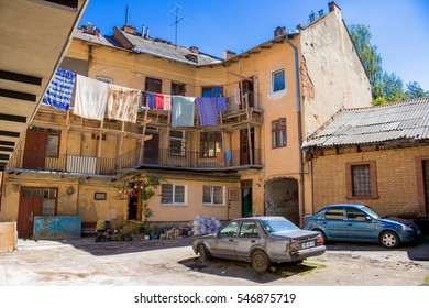 Lvov, Ukraine - July 26, 2016: view of the typical old soviet courtyard
