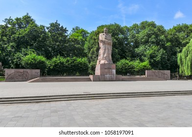 Lvov, Ukraine - July 5, 2009: Monument to the Ukrainian writer Ivan Franko in Lvov, Ukraine