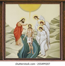 LVOV, UKRAINE - JUNE 06: The internal painting of the church of St. Anne, an illustration of the Pentecost on June 06, 2012 in Lvov, Ukraine. The author - Ivan Protsiv.