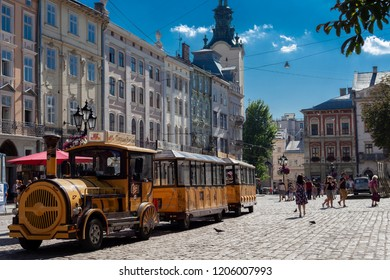 Lvov Ukraine June 1.2018 yellow pleasure bus,downtown