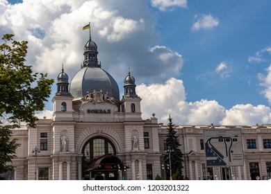 Lvov Ukraine June 3 2018 railway station,Ukrainian flag on the dome