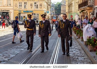 Lvov Ukraine June1,2018  cadets in the old city center