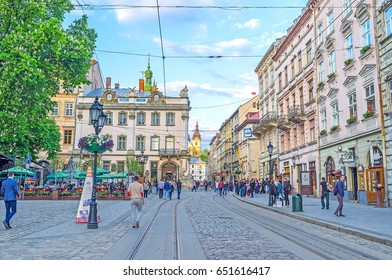 LVOV, UKRAINE - MAY 16, 2017: The Old Town of Lvov is one of the most popular landmarks in Western Ukraine, on May 16 in Lvov.
