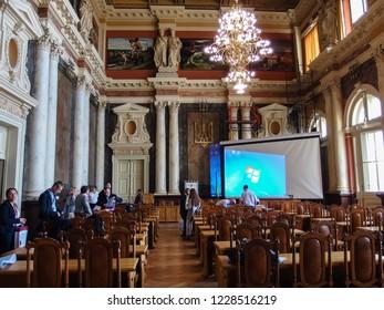 LVOV, UKRAINE - SEPTEMBER 11, 2018 Matematical conference in city of Lvov