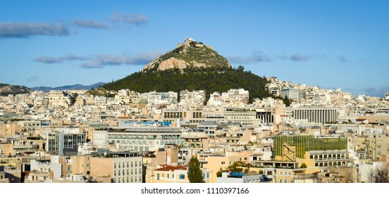 Lycabettus Hill with the city of Athens spread out below it