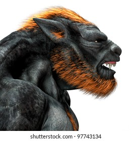 Lycan Werewolf closeup portrait. Side view snarling teeth and fangs showing. Isolated on white background.  Clipart cutout illustration.