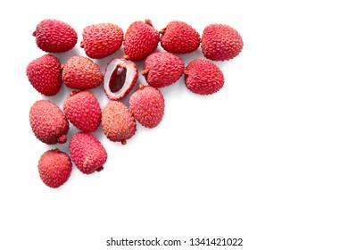 Lychee, flat lay lychee, frame of lychee