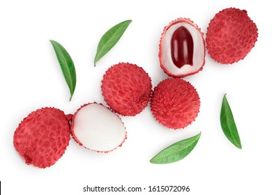 lychee fruit isolated on white background with clipping path and full depth of field. Top view. Flat lay
