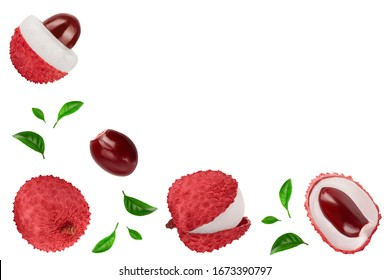 lychee fruit isolated on white background with clipping path and full depth of field. Top view. Flat lay with copy space for your text