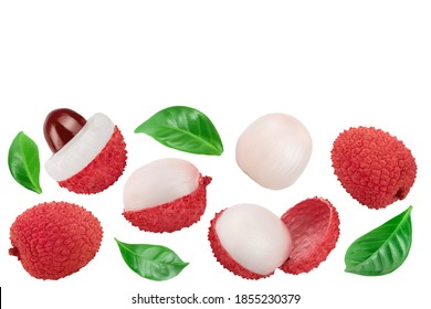 lychee fruit isolated on white background . Top view. Flat lay with copy space for your text