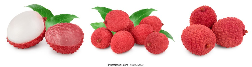 lychee fruit isolated on white background with clipping path and full depth of field. Set or collection