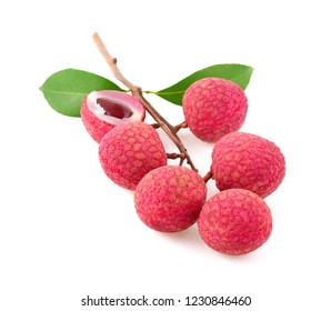 Lychee fruit with leaves isolated on white background.