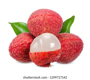 Lychee with leaf isolated on white clipping path.