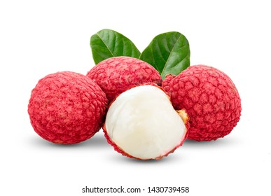 Lychee with leaves isolated on white background. full depth of field