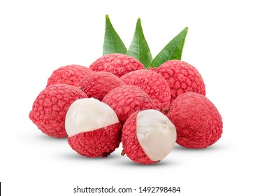 Lychee with leaves isolated on white background.