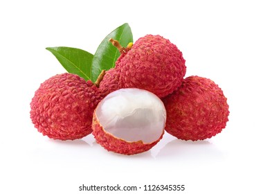 Lychee with leaves tropical fruit isolated on white background.