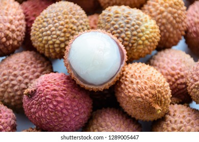 Lychee (LEE-chee; Litchi chinensis) is the sole member of the genus Litchi in the soapberry family, Sapindaceae. Ripe lychee without shell. Tropical fruit.