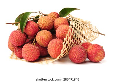 Lychee or Litchi isolated on the white background.